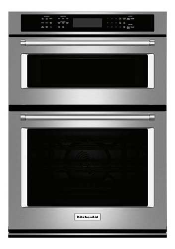 """KitchenAid 30"""" Single Electric Wall Oven with Built-in Microwave"""