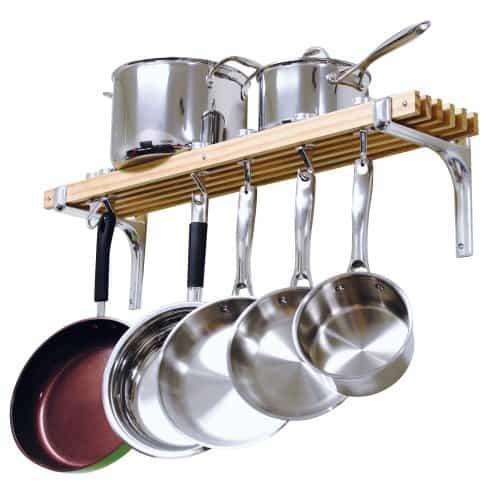 Cooks Standard Wall Mounted Wooden Pot Rack