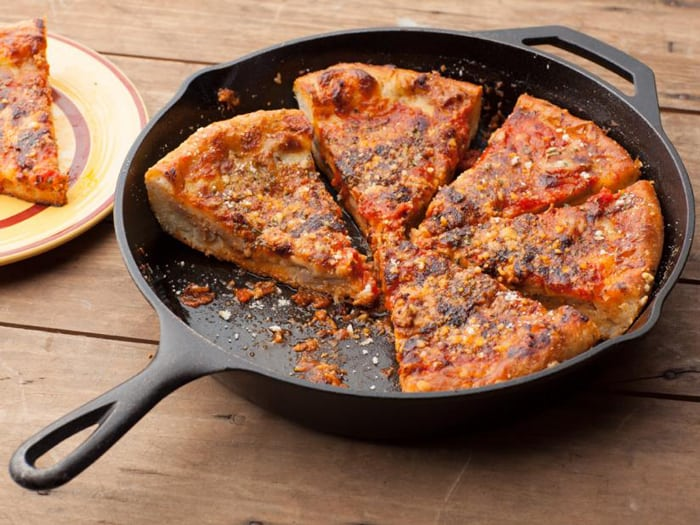 Heating the Deep-dish Pizza in a Pan