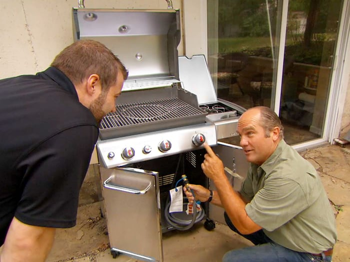 How do you hook up a natural gas line to a grill
