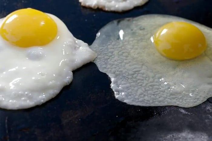 Cook eggs on a griddle
