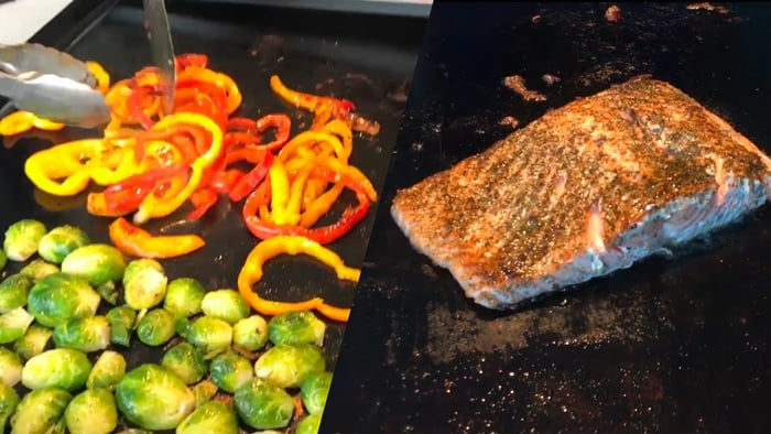 Cook salmon on griddle
