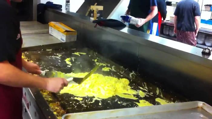 Scrambled eggs on a griddle