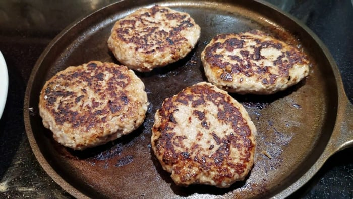 turkey burgers on a griddle
