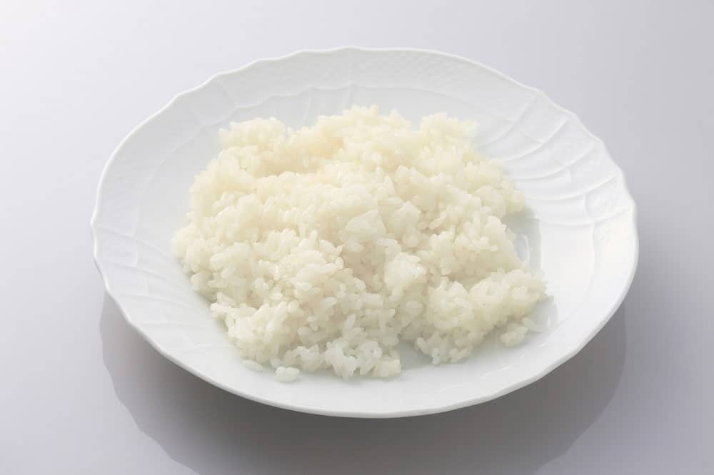 White rice on a white plate.
