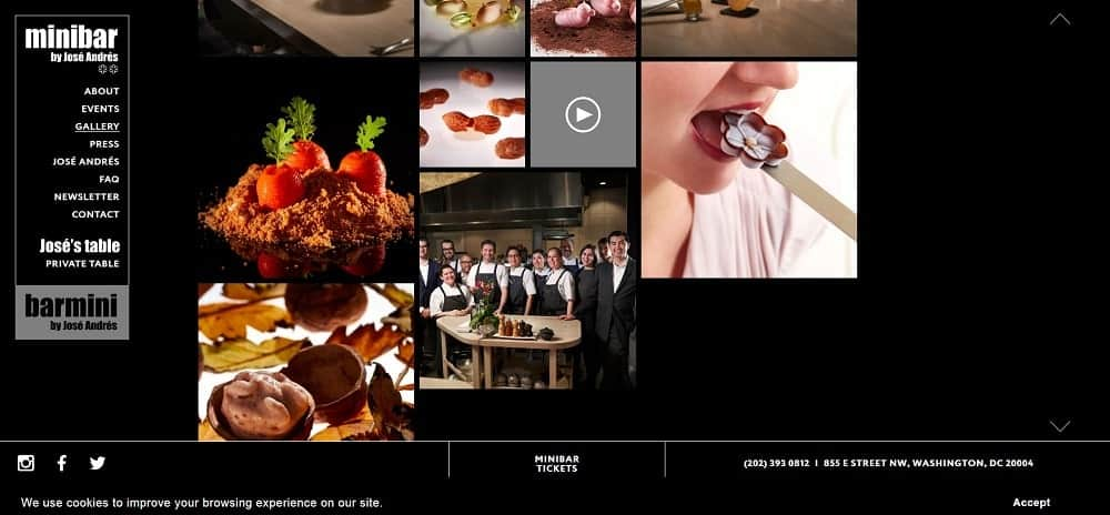This is a screenshot of the Barmini by Jose Andres website.