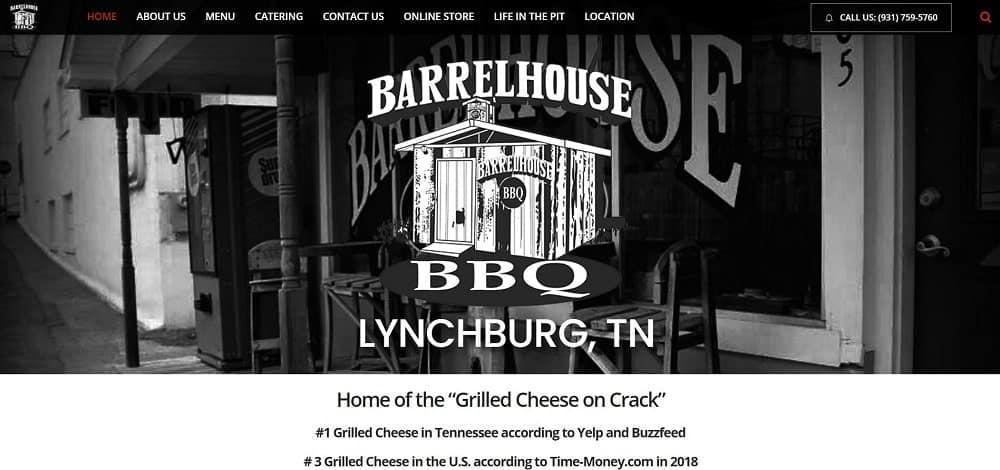 This is a screenshot of the Barrel House BBQ website.