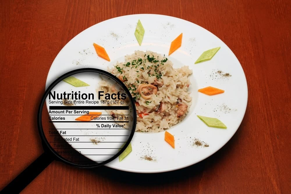 This is a Nutrition Facts table of a plate of fried rice.