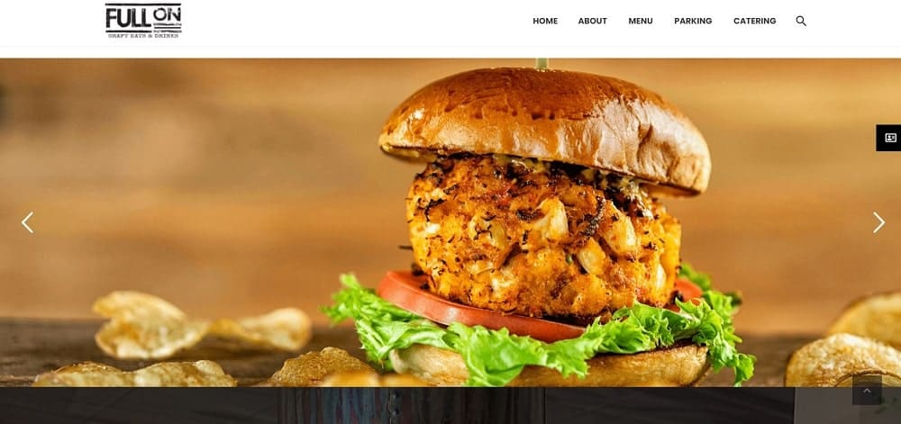This is a screenshot of the Full On Craft Eats & Drinks website.