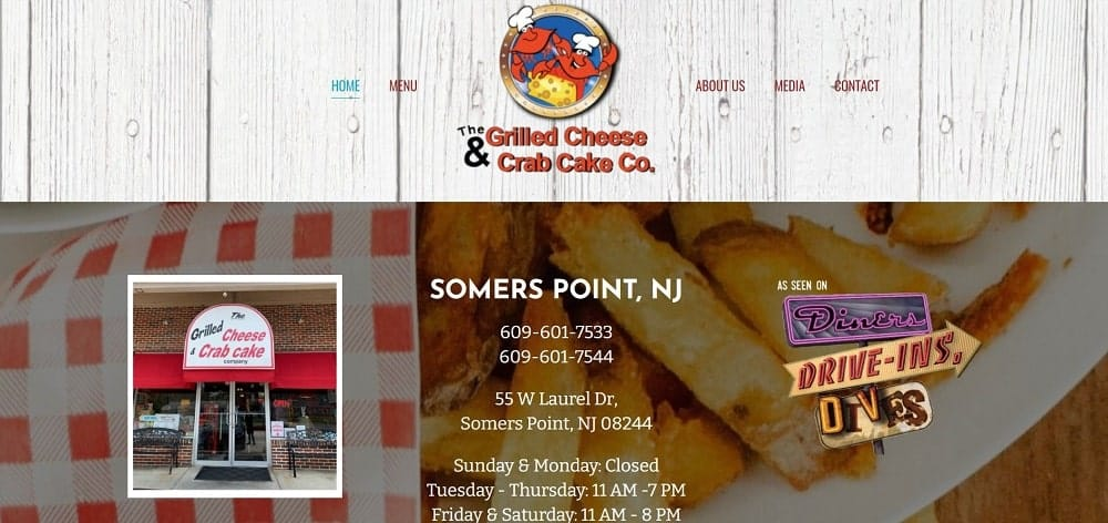 This is a screenshot of the The Grilled Cheese & Crab Cake website.