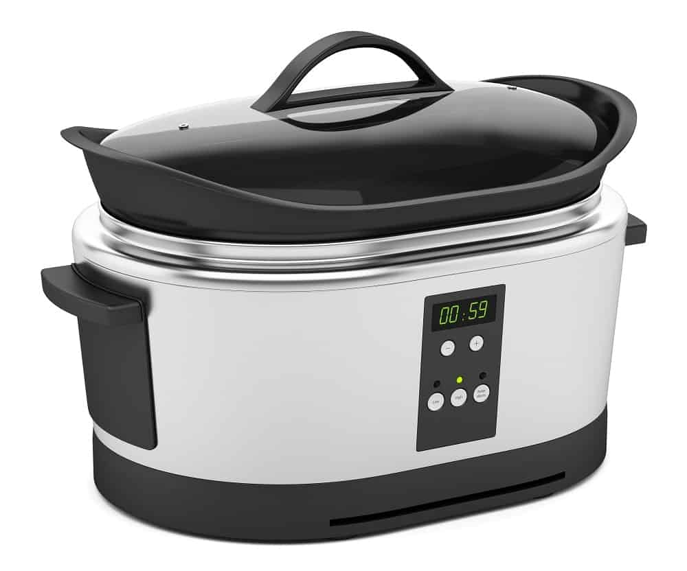 A slow cooker in a white background.