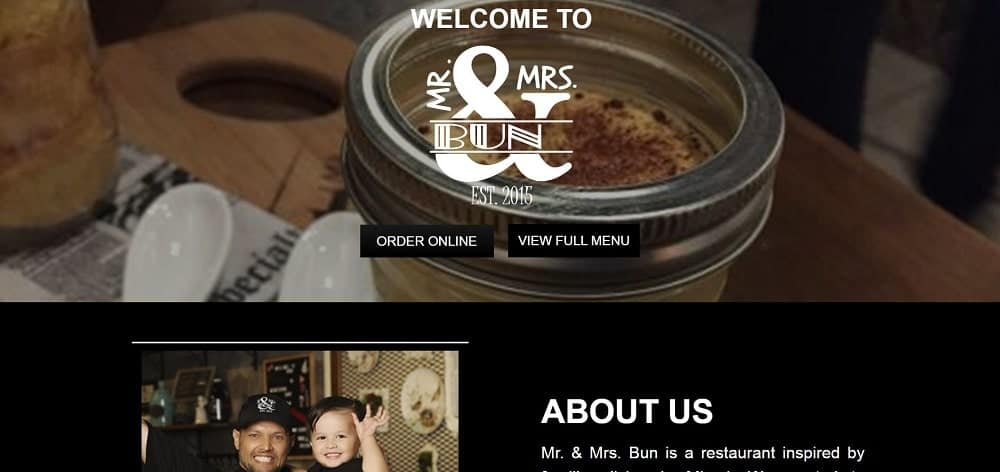This is a screenshot of the Mr. & Mrs. Bunwebsite.