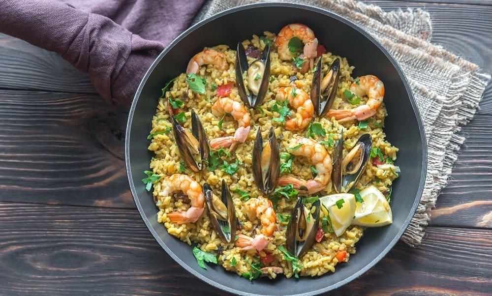 Seafood Paella on the pan.
