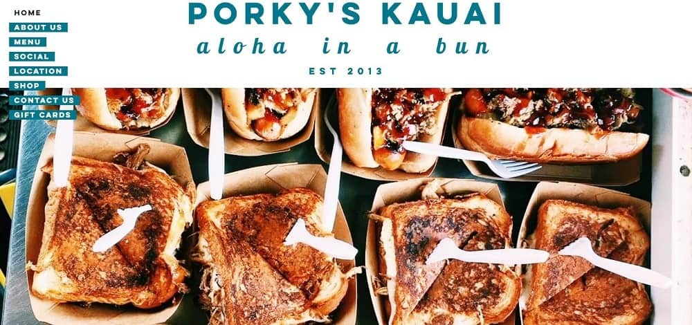 This is a screenshot of the website of Porky's Kauai.