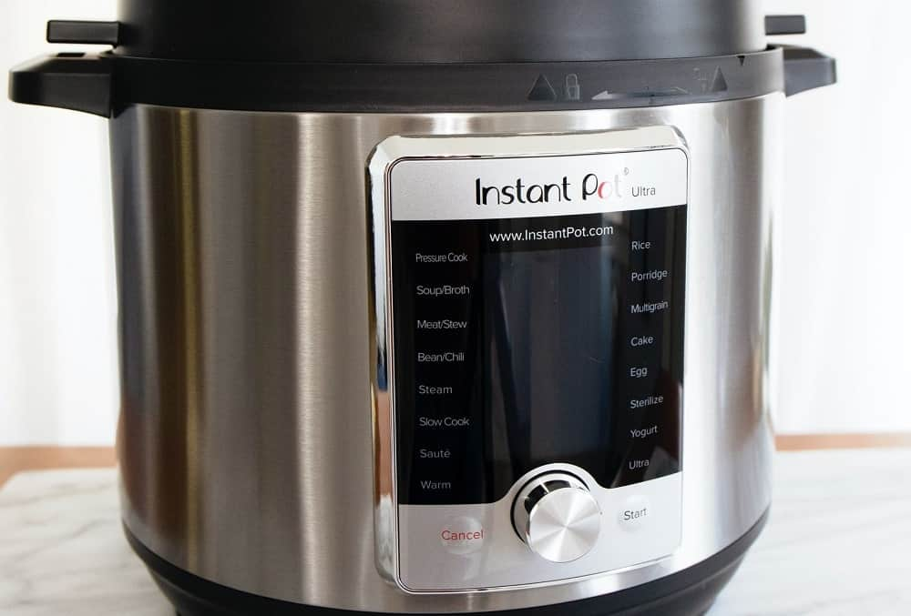 A rice cooker with settings.