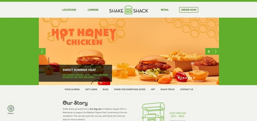 This is a screenshot of the Shake Shack website.
