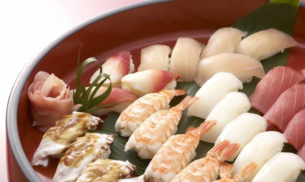 Different kinds of sushi.