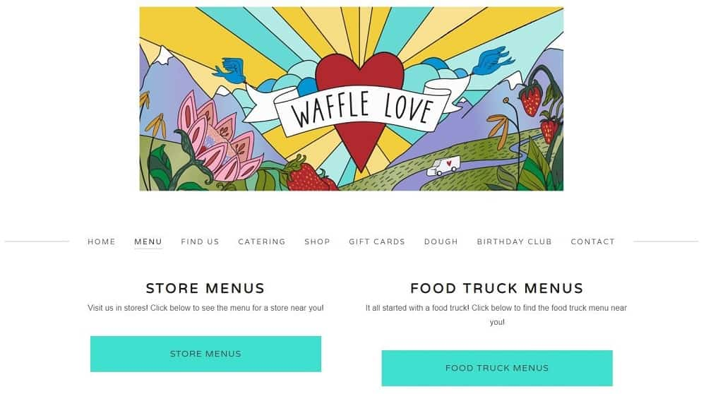 This is a screenshot of the Waffle Love website.