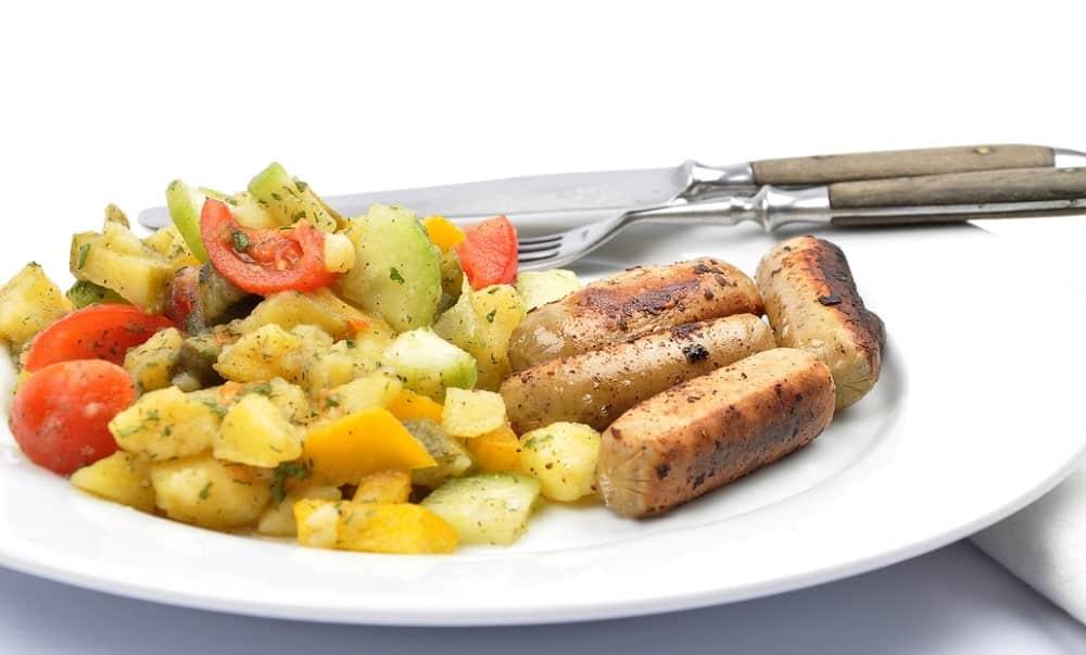 Mixed potato salad with Kielbasa.