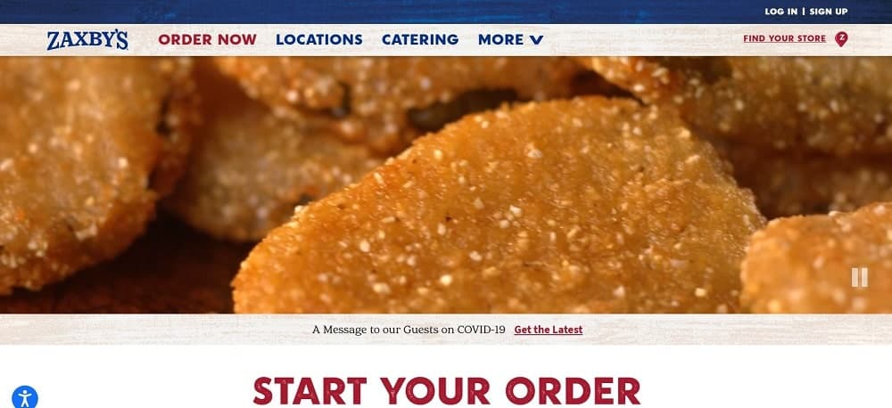 This is a screenshot of the Zaxby's website.